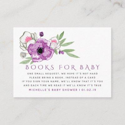 Violet and Sage Floral Baby Shower Book Request Enclosure Card