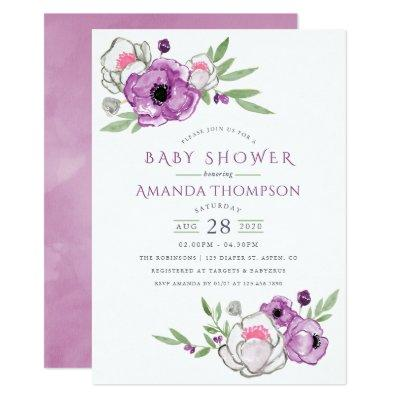 Violet and Sage Watercolor Floral Baby Shower Invitation