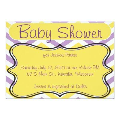 Violet and Yellow Chevron Invitations