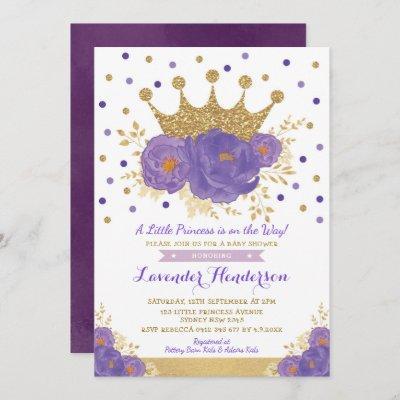 Violet Gold Crown Princess Floral Girl Baby Shower Invitation