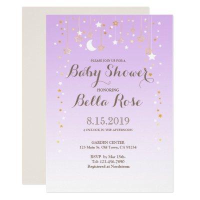 Violet Moon Star Girl Baby Shower Invite