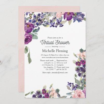 Violet, Plum and Blush Virtual Baby Shower Invitation