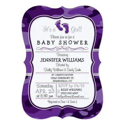 Violet Purple Camo, Camouflage Baby Shower Invitation