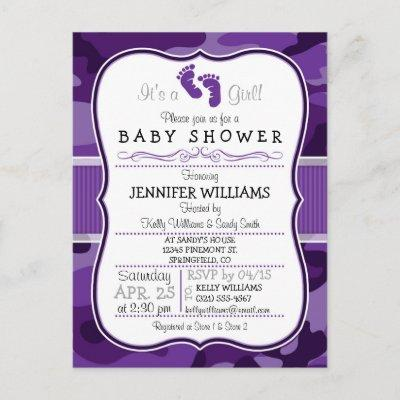 Violet Purple Camo, Camouflage Baby Shower Invitations Postcard