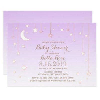 Violet star moon baby girl baby shower invitation
