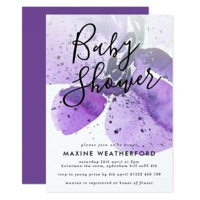 Violet Watercolor Orchid Baby Shower Invitation