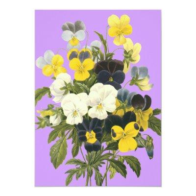 Violets and Pansy Custom Invitations