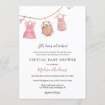 Virtual Baby Girl Shower Invitation