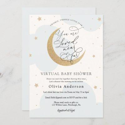 Virtual Baby Shower Blue Twinkle Star and Moon Invitation