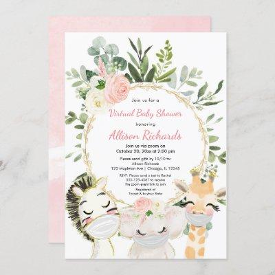 Virtual baby shower blush pink gold floral animals invitation