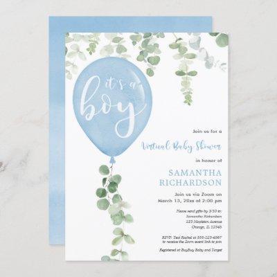 Virtual baby shower boy blue balloons eucalyptus invitation