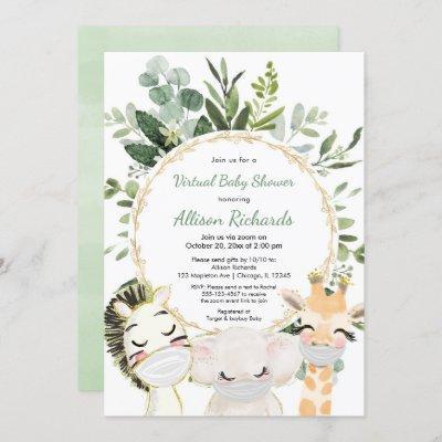 Virtual baby shower cute animals greenery gold invitation