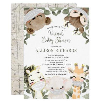 Virtual baby shower cute animals with masks invitation