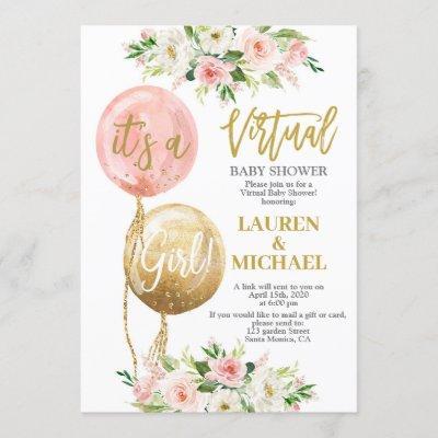 Virtual Baby Shower girl Invitation