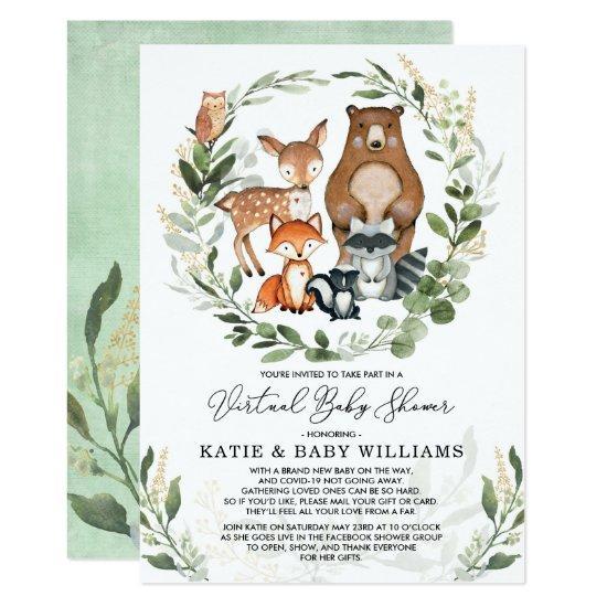 Virtual Baby Shower   Greenery Woodland Animals Invitation