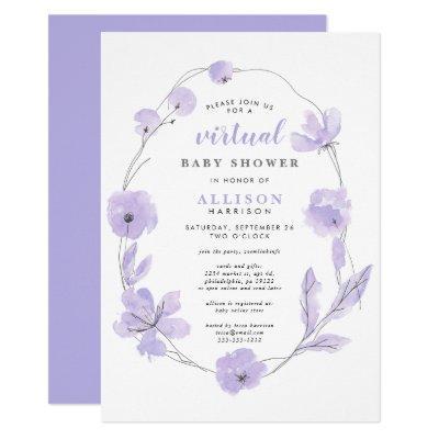 Virtual Baby Shower   Lavender Floral Watercolor Invitation