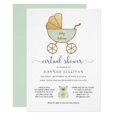 Virtual Baby Shower | Retro Carriage Green Gold Invitation