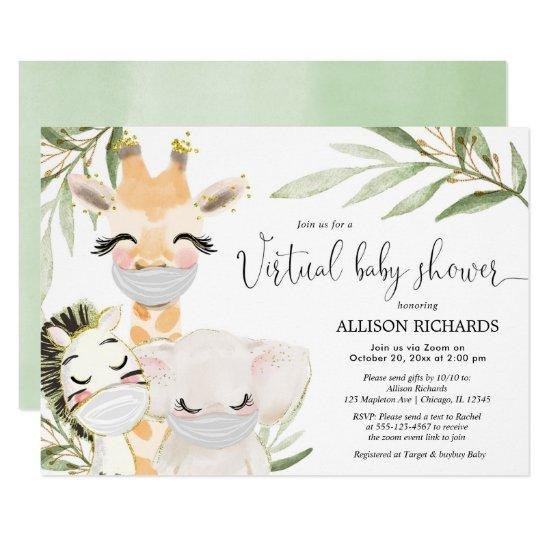 Virtual Baby Shower safari animals gender neutral Invitation