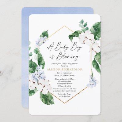 Virtual baby shower spring blue floral gold boy invitation