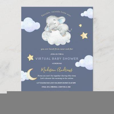 Virtual Baby Shower Twinkle Little Star Elephant Invitation