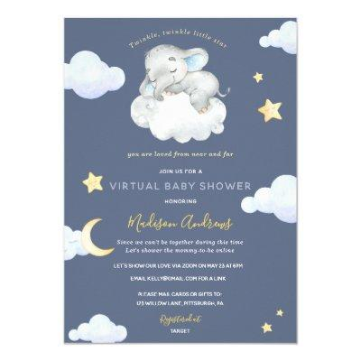 Virtual Baby Shower Twinkle Little Star Elephant Invitation