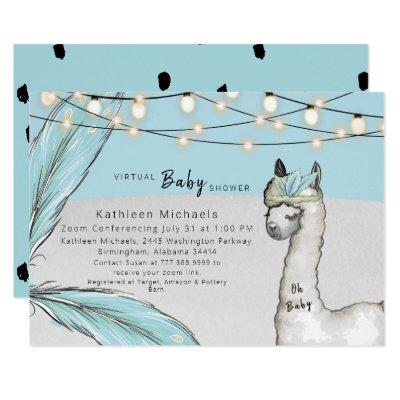 Virtual Llama Feather Turquoise Oh Baby Boy Shower Invitation