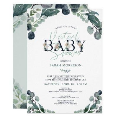 Virtual Online Baby Shower Navy Blue Sage Greenery Invitation