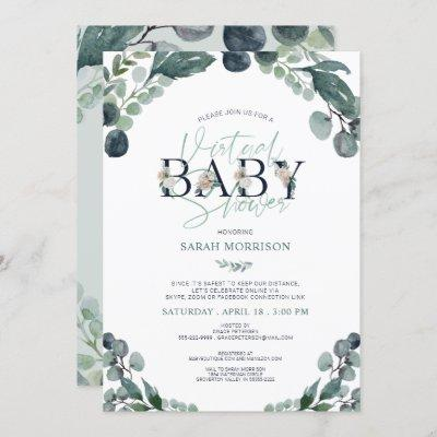 Virtual Online Baby Shower Navy Blue Sage Greenery Invitation