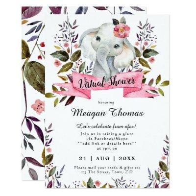 virtual shower new plans elephant pink baby shower invitation
