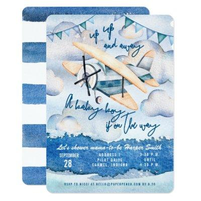 Watercolor Airplane Baby Boy Shower Invitations