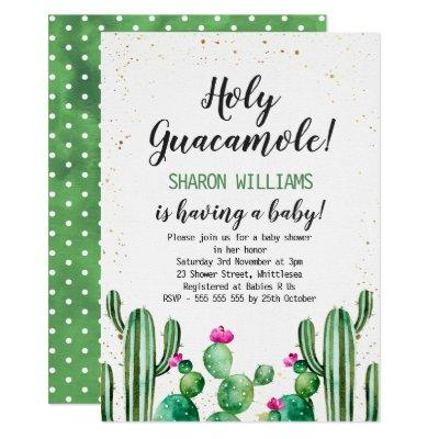 Watercolor And Gold Cactus Baby Shower Invitation