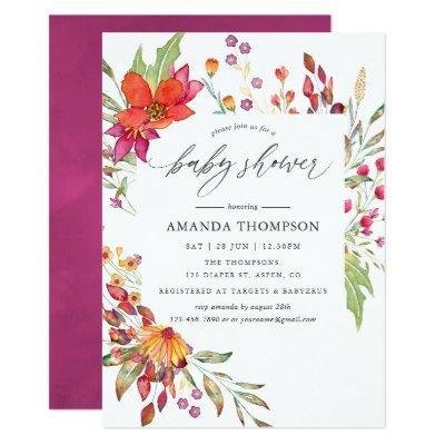 Watercolor Aquarelle Wild Flower Baby Shower Invitation