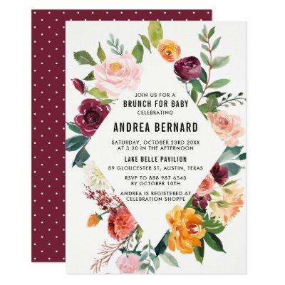 Watercolor Autumn Blooms Floral Baby Shower Brunch Invitations