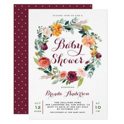 Watercolor Autumn Floral Wreath Baby Shower Invitation