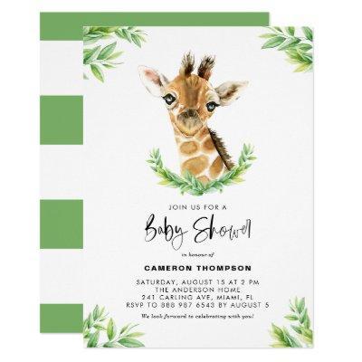 Watercolor Baby Giraffe Greenery Baby Shower Invitation