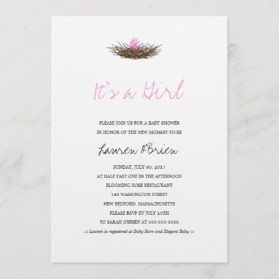 Watercolor Baby Girl Bird's Nest Baby Shower Invitation