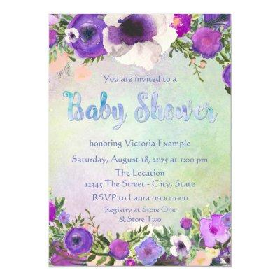Watercolor Baby Shower Invitations