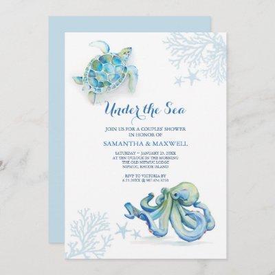 Watercolor Baby Shower Invitation Under The Sea