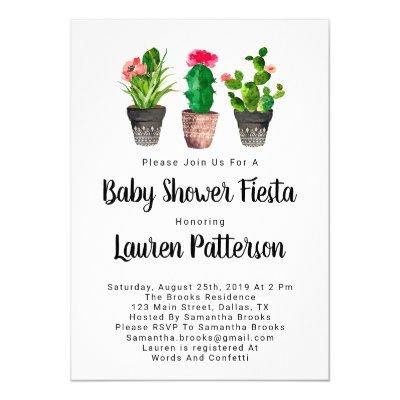 Watercolor Baby Shower Invitations, Fiesta Invitation