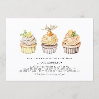 Watercolor Berry and Citrus Cupcakes Baby Shower Invitation