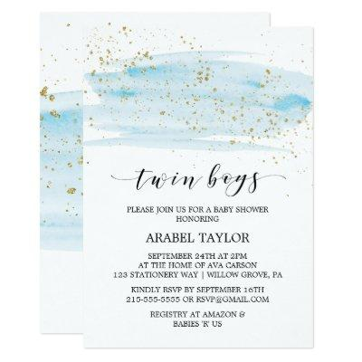Watercolor Blue and Gold Twin Boys Baby Shower Invitations