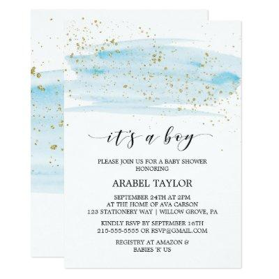 Watercolor Blue & Gold It's A Boy Baby Shower Invitations