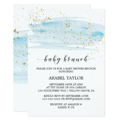 Watercolor Blue & Gold Sparkle Baby Brunch Invitations
