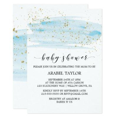 Watercolor Blue & Gold Sparkle Baby Shower Invitations