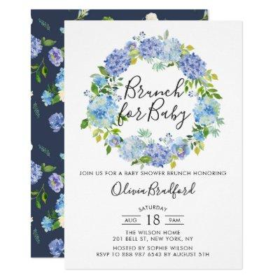 Watercolor Blue Hydrangeas Baby Shower Brunch Invitations