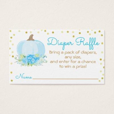 Watercolor Blue Pumpkin Baby Shower Diaper Raffle