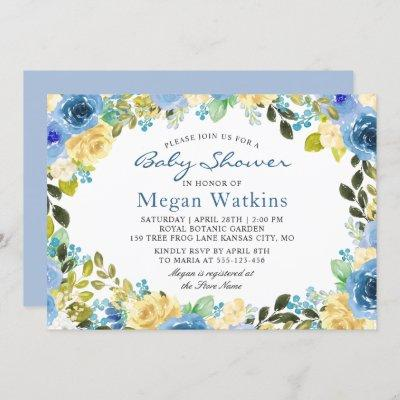 Watercolor Blue Yellow Flowers Baby Shower Invitation