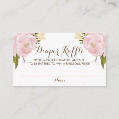 Watercolor Blush Pink Peonies Baby Diaper Raffle Enclosure Card