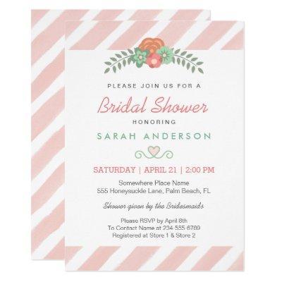 Watercolor Blush Pink Stripes Floral Bridal Shower Invitations