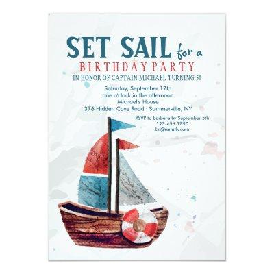 Watercolor Boat Invitations